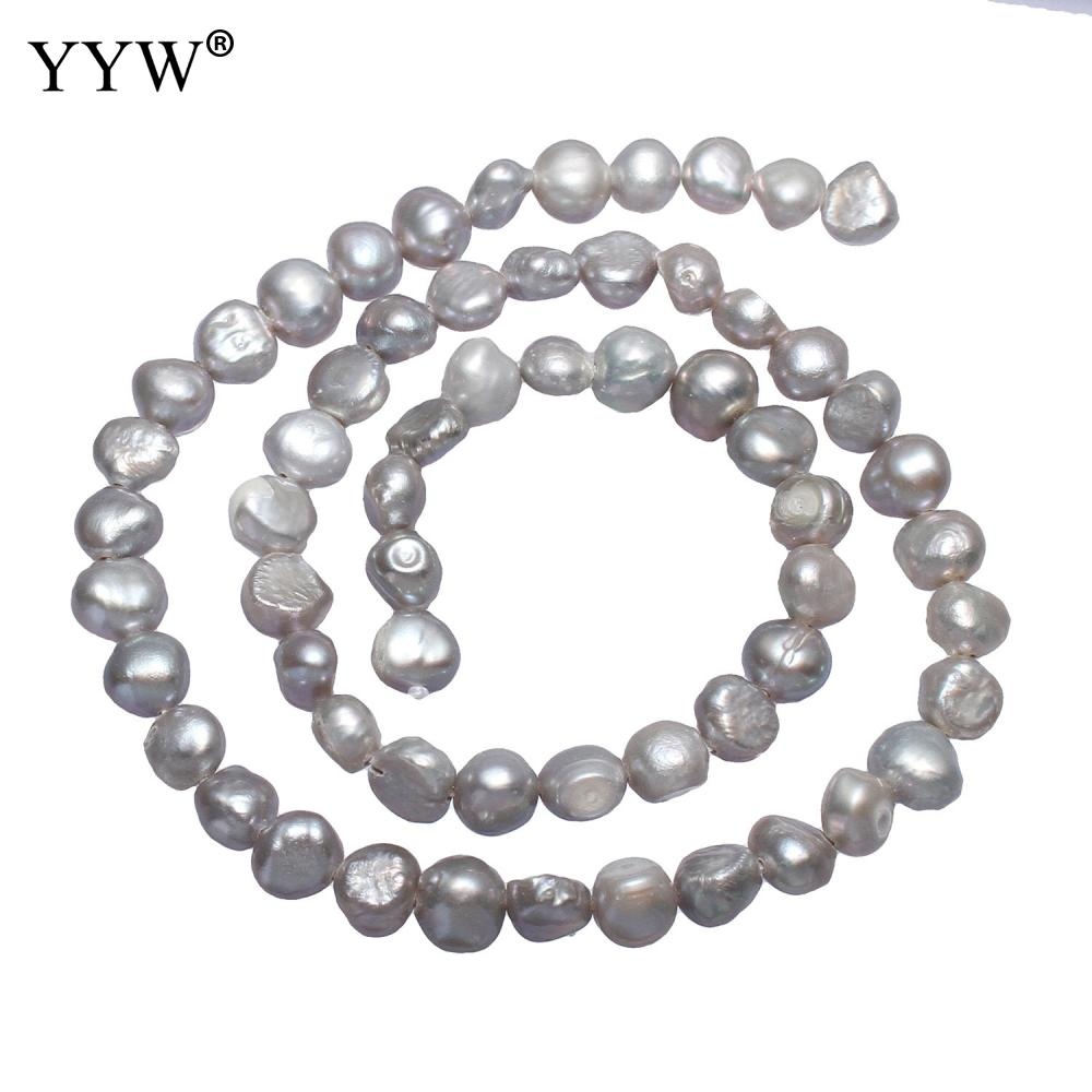 6 7mm Long Grey Beads Necklace Bracelet Making Fashion