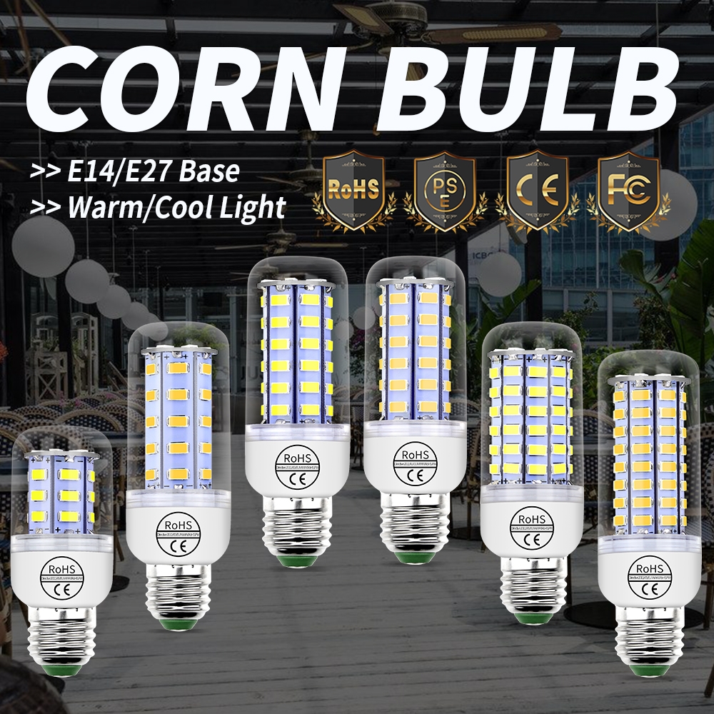 E27 LED Corn Bulb 220V E14 Lampada Led SMD 5730 Candle Light For Home Decoration 24 36 48 56 69 72LEDs Energy saving Lamp 230V