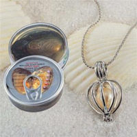 FREE SHIPPING>>>@@ Wholesale 1 Set Love Wish Pearl Necklace Set Oyster Drop Pendant