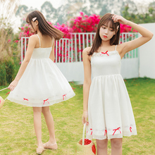 EAD White Sweet Sleeveless Women Summer Chiffon Dress Spaghetti Strap Bow Strapless Elegant Dresses Backless Female Vestido