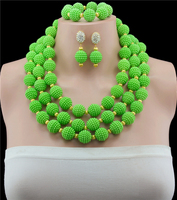 2017 Hot Sale Green Costume Dubai Jewelry Set Gold color Top Gorgeous Nigerian Wedding African Beads Jewelry Set