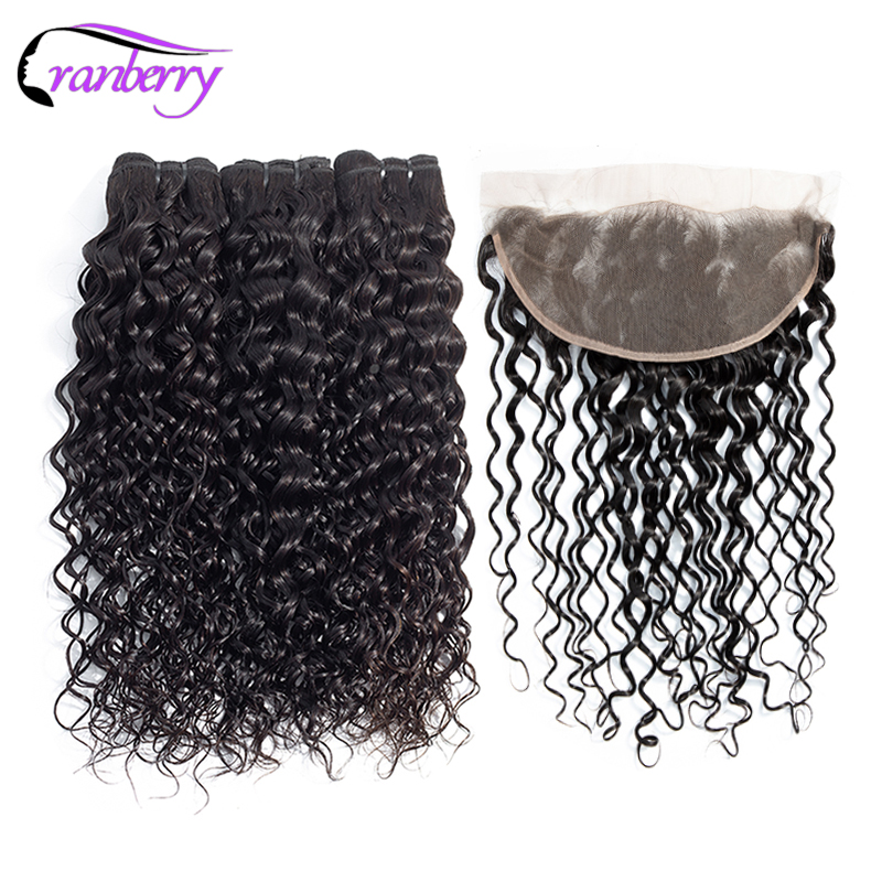 Cranberry Malaysian Hair Bundles With Closure Water Wave Bundles With Frontal 100 Remy Hair Bundles Free