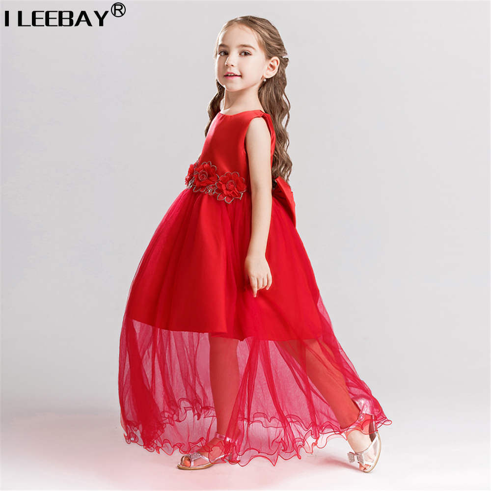 Children Long Princess Dress for Flower Girls Kids Party Dress with Bow Girl Bithday Tutu Gown Girls Costume Floor Length 3-10y girls princess party dresses children flower bow floor length lace tutu dress kids girl train wedding dress costume clothing