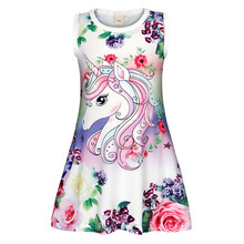 AmzBarley Little girls Unicorn Flowers Pajamas Kids Sleeveless sleepwear toddler printing Casual nightgowns summer Dress недорого