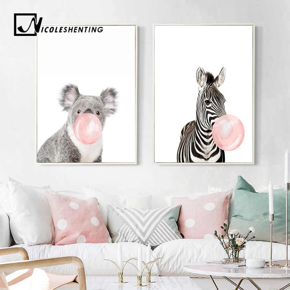 Жираф зебра постеры с животными и художественная печать на холсте настенная живопись декоративная картина для детской украшения в скандинавском стиле