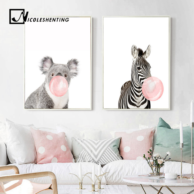 Giraffe Zebra Animal Posters Prints Canvas Art Painting Wall Nursery Decorative Picture Nordic Style