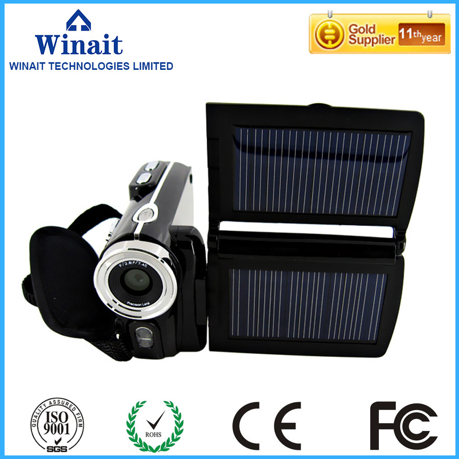 Winait 2017 Popular Hdv-t90 Digital Video Camera With Max 12 Mega Pixels Dual Solar Charging Function To Be Renowned Both At Home And Abroad For Exquisite Workmanship Skillful Knitting And Elegant Design