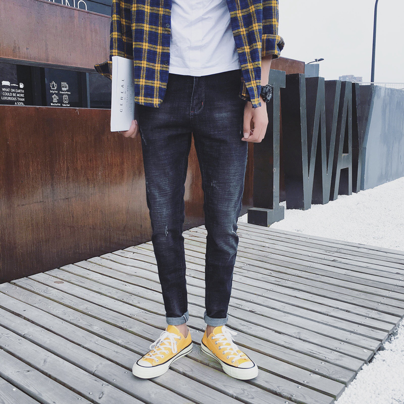 2017 Autumn Latest Mens Fashion Black Jeans Mens Trousers Pants Korean Version Of The Retro Style Of Youth Pants Tide
