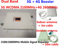Gain 70dB LTE 2100 & 2600MH Dual Band cellular amplifier gsm 3G 4G WCDMA 2100 LTE 2600 Mobile Signal Repeater with lcd display