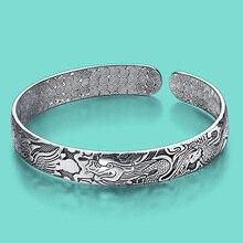 Ethnic style lady's charm bracelet Thai silver 925 silver bracelet for women's vintage Solid silver jewelry open design