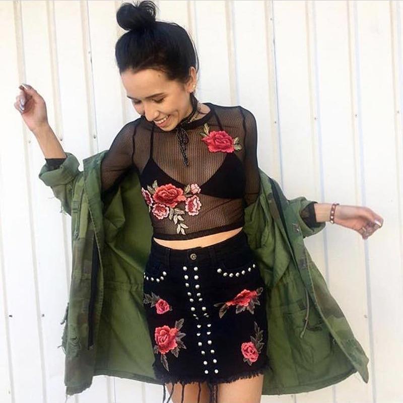 ELSVIOS Sexy transparente de encaje negro camisa de la blusa 2017 de La Moda de