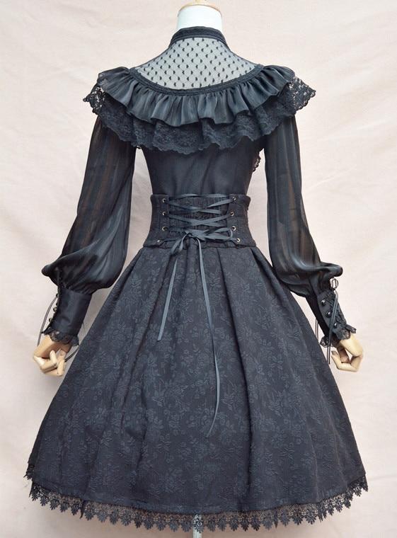 Chemisier en mousseline de soie Royal Vintage Illusion cou femmes Blouse gothique transparente à manches longues lanterne avec volants - 6