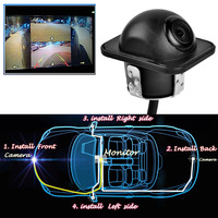360 Vehicle Full View Car Rear Mirror Backup Parking Dual Use Hole Camera Front Back Left
