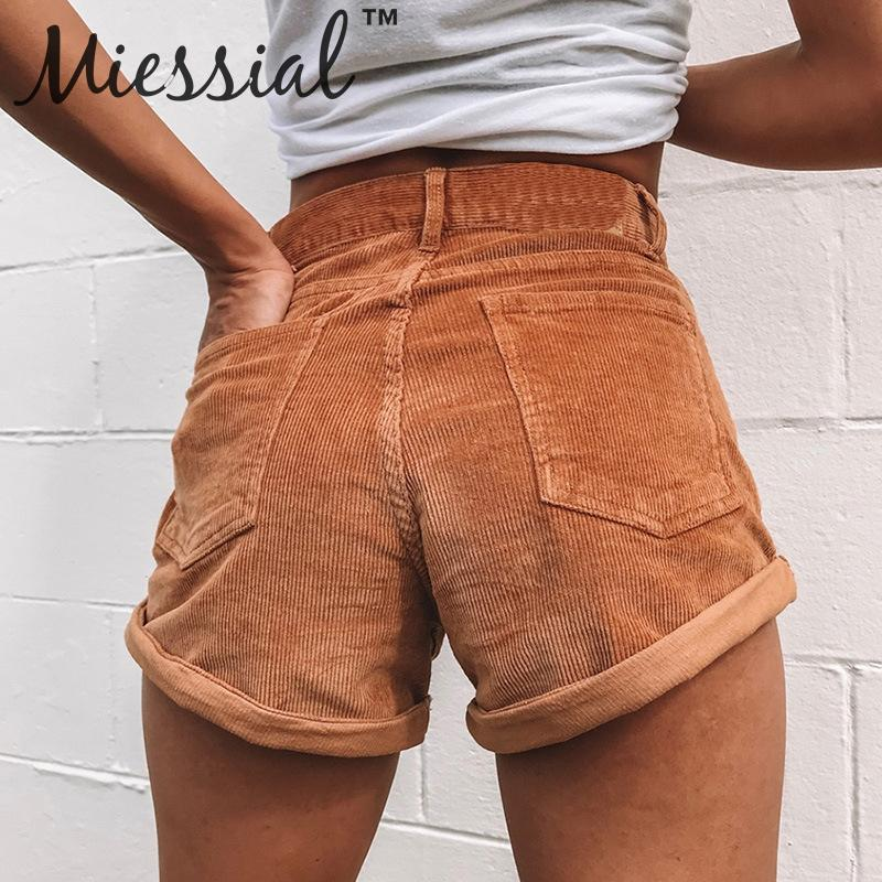 Miessial Corduroy Cuffs Casual Shorts Women High Waist Pockets Workwear Shorts Winter Loose Straight Female Streetwear Shorts