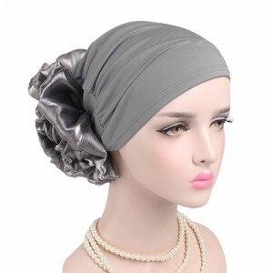 Image 2 - Helisopus New Woman Big Flower Turban Elastic Cloth Hair Bands Hat Chemo Beanie Ladies Muslim Scarf Hair Accessories