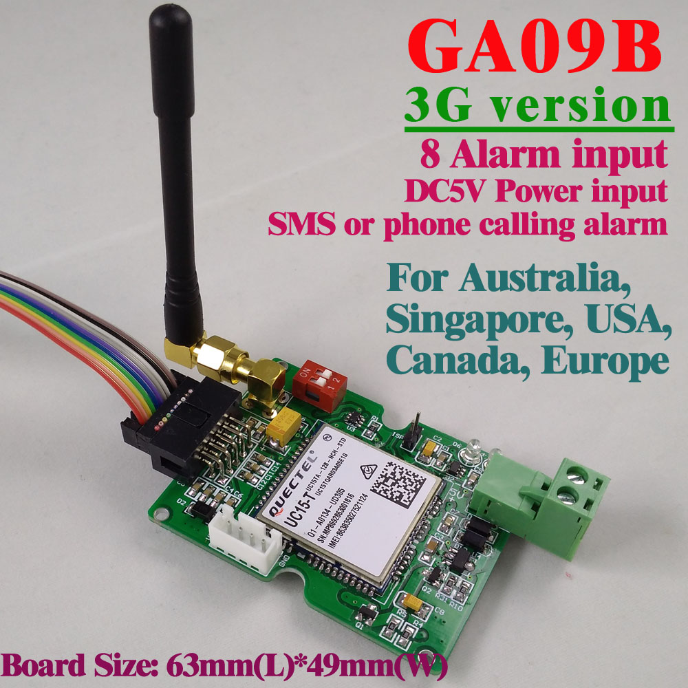 Free shipping 3G Version GSM Alarm board SMS Alert Wireless alarm GA09B Home and industrial security alarm system unit 16 ports 3g sms modem bulk sms sending 3g modem pool sim5360 new module bulk sms sending device