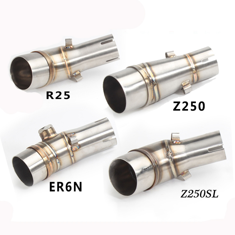 R25 R3 ER6N <font><b>Z650</b></font> Z250SL Z250 Z300 Motorcycle Stainless Steel Middle Connecting Pipe Link 51mm Tail <font><b>Exhaust</b></font> Muffler Pipe image