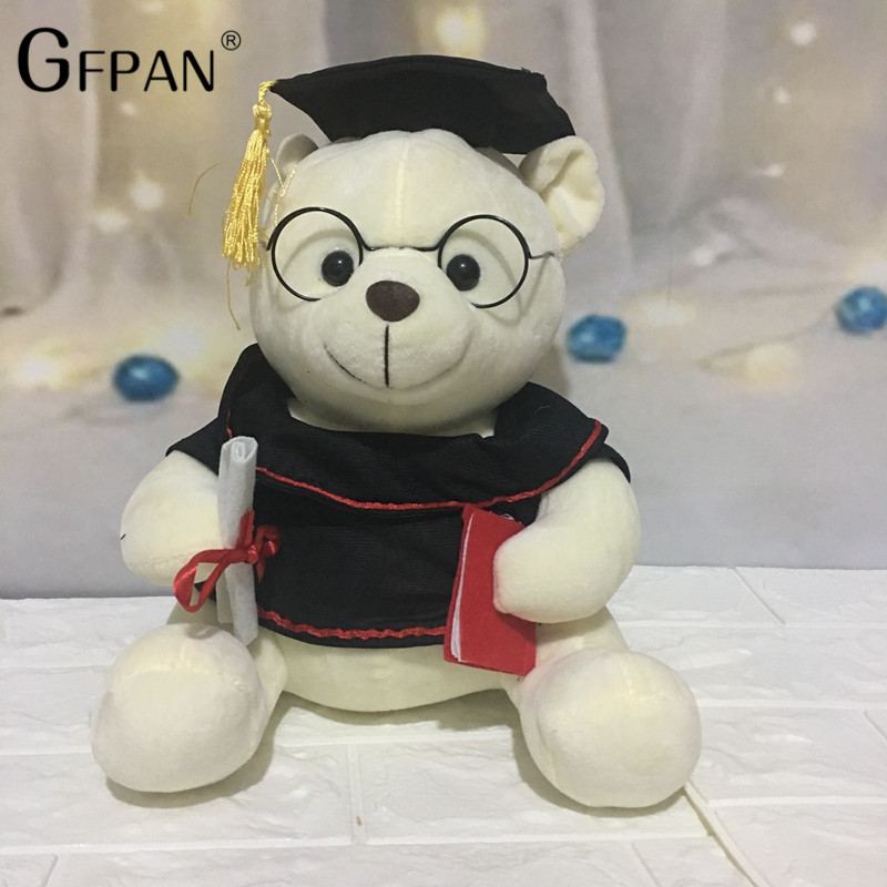Hot Toys 18cm Super Quality Graduation Dr. Bear plush& stuffed Teddy Bear Animal Dolls Birthday Gift For Kids Baby Children