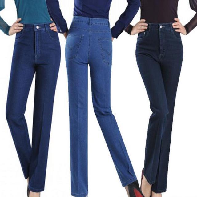 Новый Большой размер 9XL женская высокая талия прямые джинсы джинсовые брюки 3 colorsCasual широкий джинсы брюки