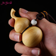 JIA-GUI LUO Boxwood sculpture gourd pendant carving decorative crafts birthday gifts collectibles Car A039
