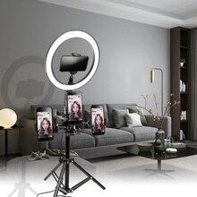 10 дюймов, 26 см, USB интерфейс, затемненный светодиодный кольцевой светильник для селфи, камера, телефон, фотография, видео, макияж, лампа с штативом, зажим для телефона