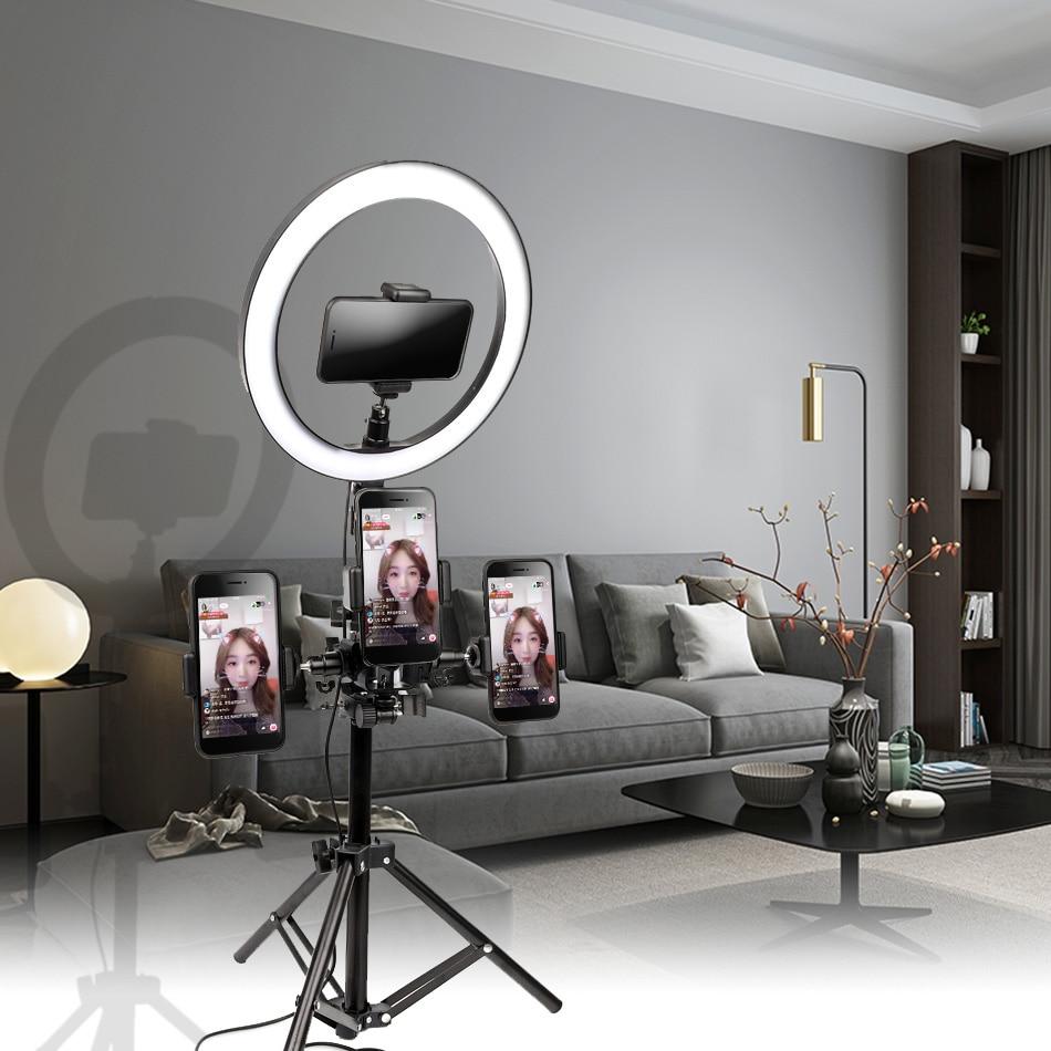 10 дюймов 26 см USB интерфейс с регулируемой яркостью LED селфи кольцо свет камера телефон фотография видео макияж лампа с штативом Зажим для тел...
