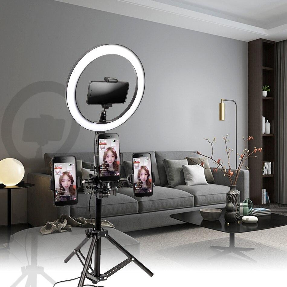10 polegada 26cm interface usb pode ser escurecido led selfie anel luz câmera telefone fotografia maquiagem de vídeo lâmpada com tripé telefone clipe