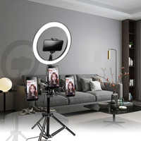 10 pouces 26cm USB Interface Dimmable LED Selfie anneau lumière caméra téléphone photographie vidéo maquillage lampe avec trépied téléphone pince