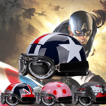 special Captain America new Motorcycle helmet for summer four seasons general safety cap goggle helmet