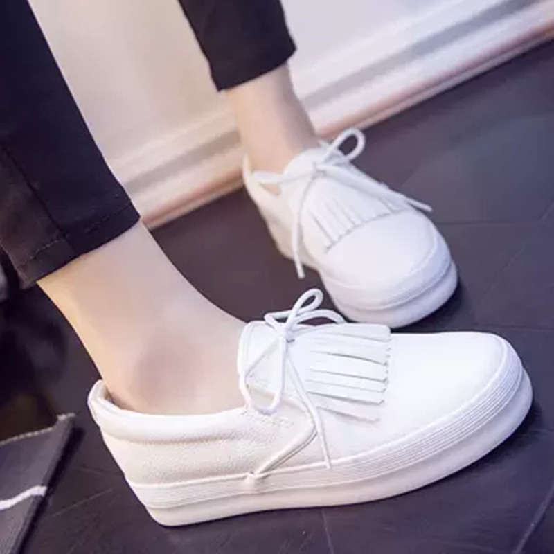 2017 Spring Summer Leather Shoes Korean Student White Low Breathable Lace Up Flat bottomed Slipony Women