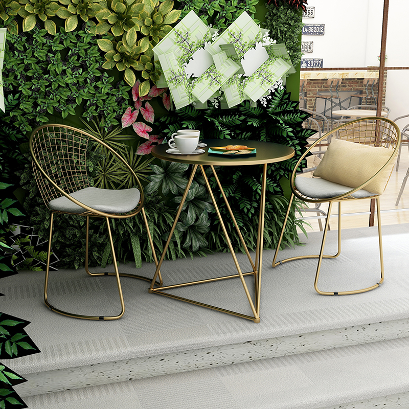 New Metal Steel Leisure Chair Iron Wire Chair Hollow Back Gold Black Dining Coffee Metal Bar Chairs Living Room Furniture(China)