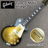High quality hand made electric guitar, Gold electric guitar black surround with Tune o Matic bridge, free shipping