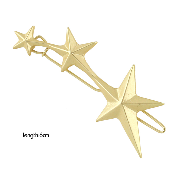 Punk Style Fashion Hair Jewelry Gold Color Geometric Star Hairgrips Hairwear For Women Accessories