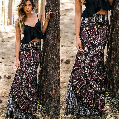 82dfb0a9182 Skirts BOHO Hippy Women Long Maxi Slim Skirt Beach Clothing Casual Summer  Sexy Women Summer Floral
