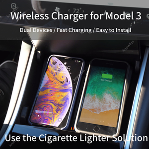 Image 2 - For Tesla Model 3 Y Mobile Phone Wireless Charging Pad Dock Accessories Center Console Charger Use Cigarette Lighter for iPhone