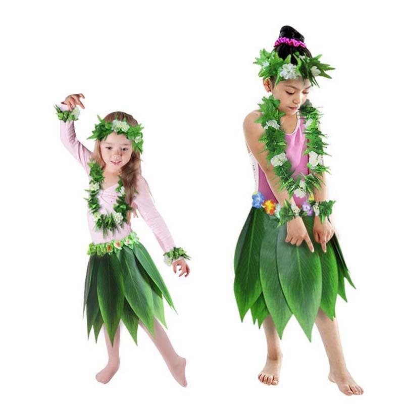 Ladies Hawaiian Hula Grass Leaf Skirt /& Top Tropical Fancy Dress Costume Party