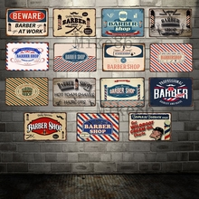 [ Mike Decor ] Barber Shop Metal Sign Retro Craft Irregular wall Painting  Store Room decoration FG-135