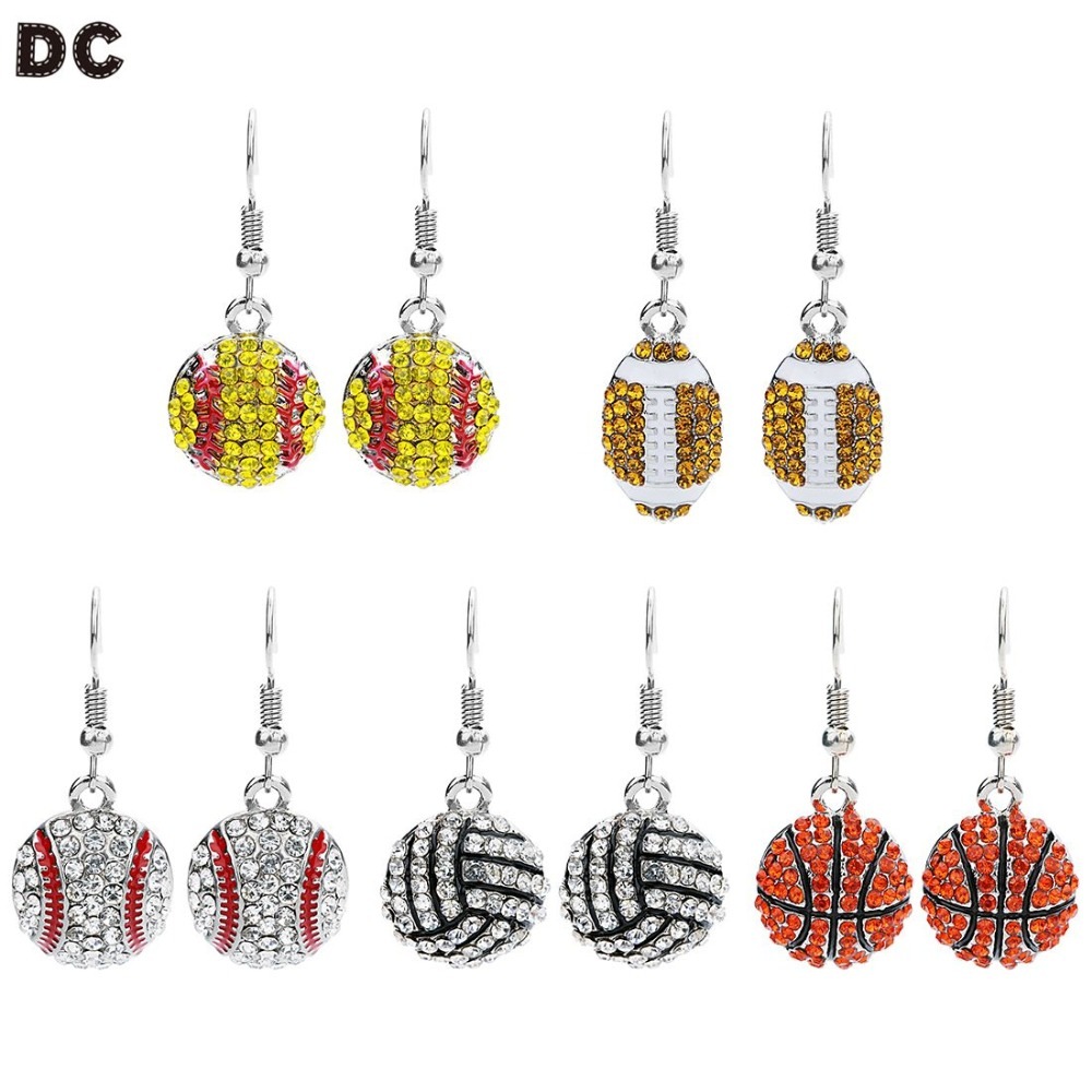 DC 1 pairs fashion sports charms earring basketball/Baseball/Rugby Jewelry Gift For Women Volleyball Player Fans Sports
