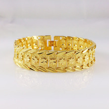 Luxury Womens Mens Wide Surface 15mm Bracelet Real Yellow Gold Filled Big Bracelet Bangle New Jewelry