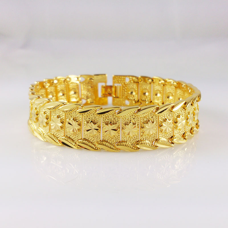 Luxury font b Womens b font Mens Wide Surface 15mm font b Bracelet b font 24K