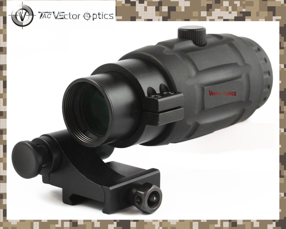 Vector Optics Tactical 3x Magnifier Haute qualité Flip Quick Scope avec Flip To Side Mount Fit pour la vue holographique