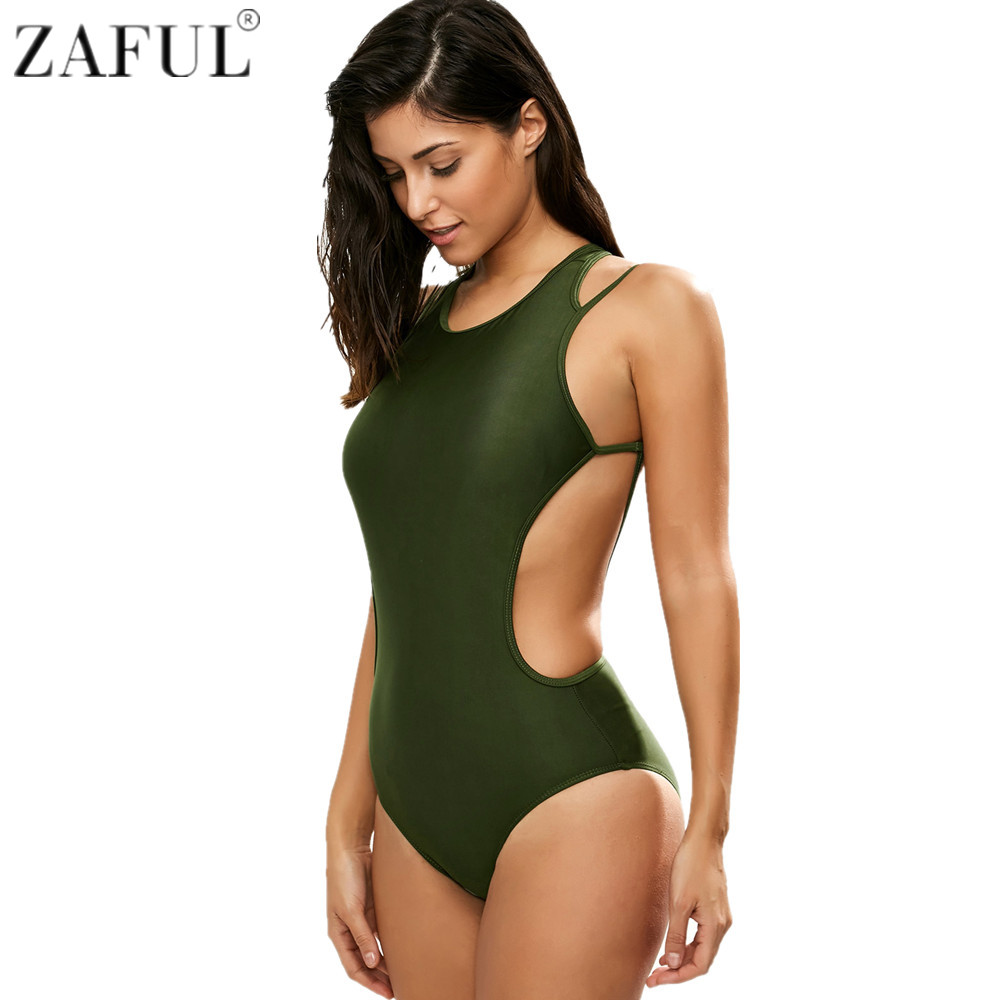 Zaful One Piece Swimsuit 2017 Sexy Backless Swimwear Women Army Green Bathing Suit Vintage Summer Beach Wear Monokini Bodysuit sbart women long sleeve rashguard one piece swimsuit shirt brief swimwear vintage bathing suit summer beach wear padded swimming