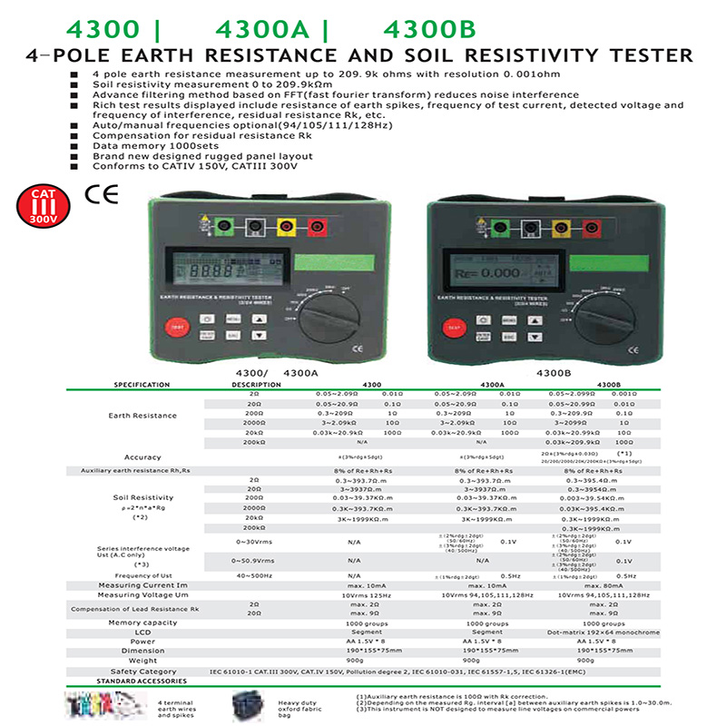 BTMETER BT 4300A 4 Pole earth resistance and soil resistance tester