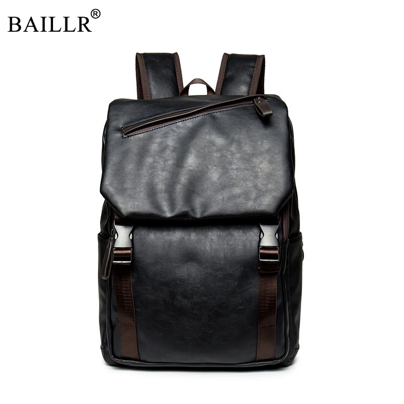 New Preppy Style pu Leather Men Black Backpack Fashion Style Unisex School Backpack For Teenage Boy Casula double Shoulder bags