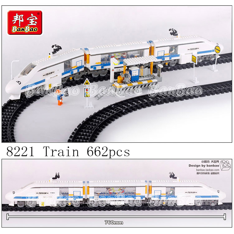 Banbao model building kits compatible with lego city train 1061 3D blocks Educational model & building toys hobbies for children цена
