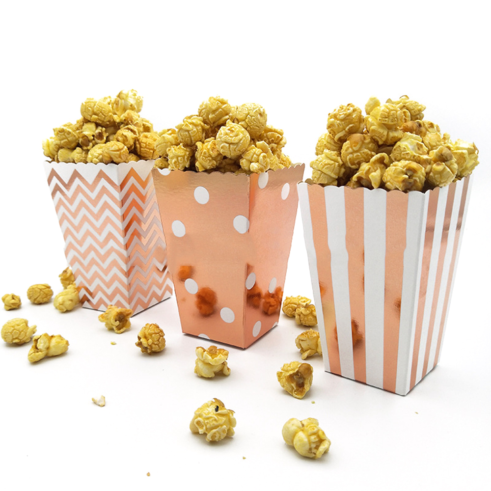 12pcs Rose Gold Popcorn Boxes Bags Kids Party Treat Boxes Wedding Birthday Decor Movie Supplies Popcorn Bag Party Supplies