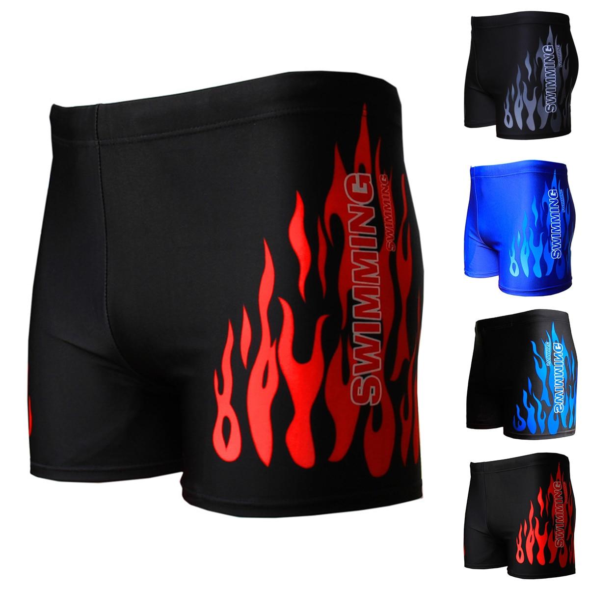 Hot sale Flame Pattern Men Male Swimwear Boxer Shorts Bathing Suit Trunks Swim Black Blue Beach Wear Briefs Swimsuit Beachwear