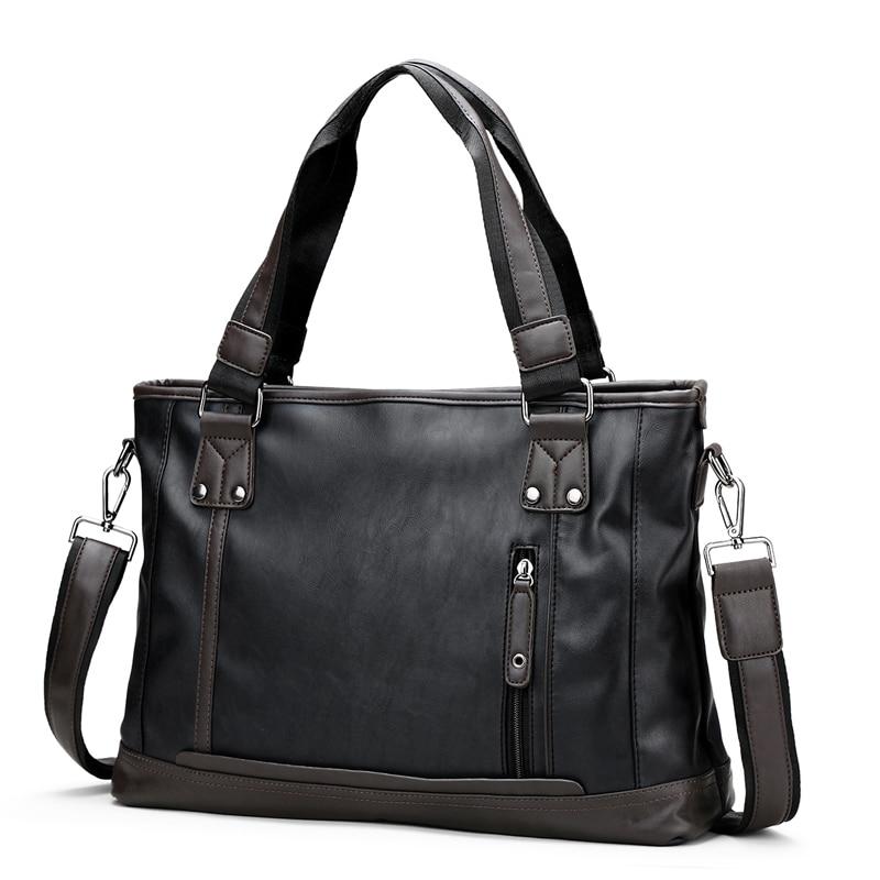 14 Inch Herren Aktentasche Mode Pu Leder Aktentasche Männer Schulter Tasche Handtasche Für Business Schwarz Blau Soild Aktentasche Heißer