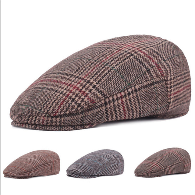 436d084ea421c Moda hombres boinas sombreros Plaid Otoño Invierno Caballero tapas con una  visera recta hombres plana tapa
