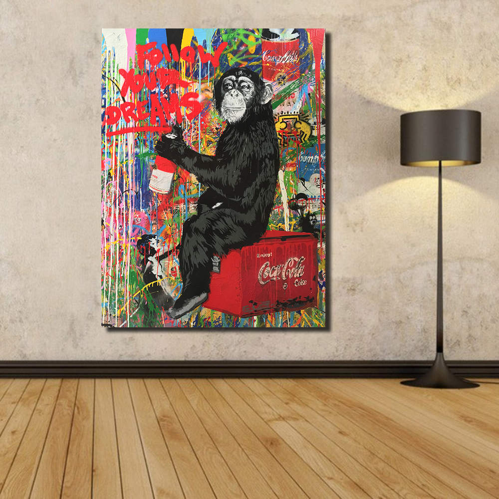 Graffiti art for your home - Qcart Banksy Art Follow Your Dreams Painting Prints On Canvas Colorful Graffiti Monkey Street Wall Art
